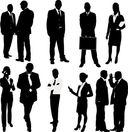 Photo pour business people silhouettes - vector - image libre de droit