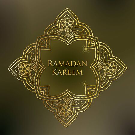 Illustration pour dotted arabesque in gold on the khaki background. Luxury background in Arabic style for Ramadan. Ornamental Islamic decor in dotwork style. Ramadan Kareem greeting design. - image libre de droit