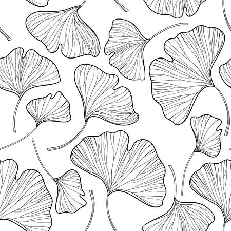 Ilustración de Seamless pattern with outline Gingko or Ginkgo biloba leaves in black on the white background. Floral pattern with Gingko foliage in contour style for summer design and coloring book. - Imagen libre de derechos
