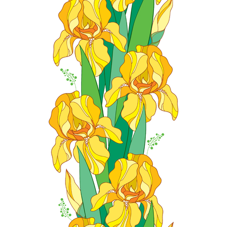 Seamless Pattern With Outline Yellow Iris Flower Bud And Green Leaf
