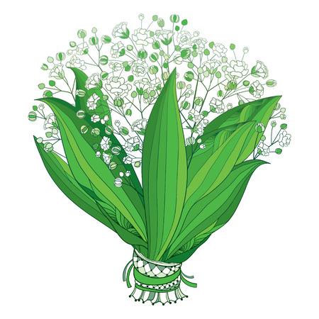 Illustration pour Bride bouquet of outline Gypsophila or Baby's breath. - image libre de droit