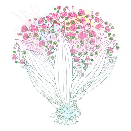 Illustration pour Bride pink bouquet of outline Gypsophila or Baby's breath. - image libre de droit