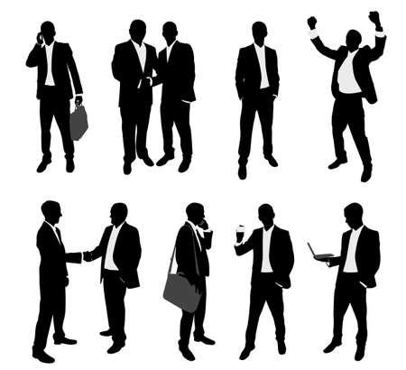 Illustration pour business people silhouettes collection  - image libre de droit