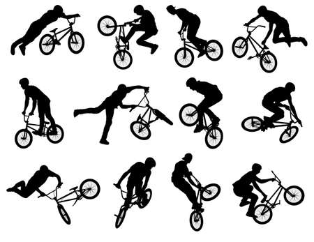 12 high quality silhouettes of BMX stunt cyclist