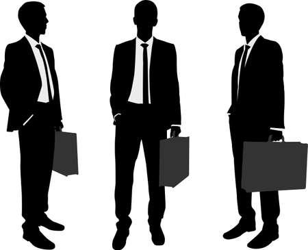 Illustration pour businessman holding briefcase silhouettes  - image libre de droit