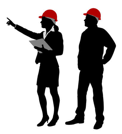 engineer and foreman working silhouettes - vector