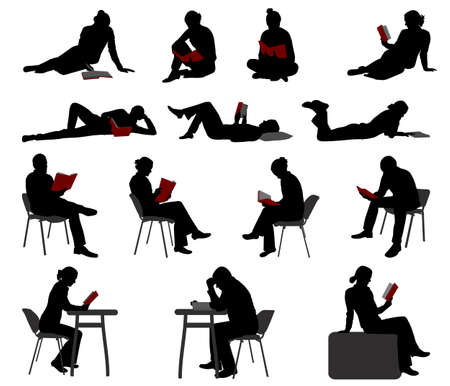 Illustration for silhouettes of people reading books - vector - Royalty Free Image
