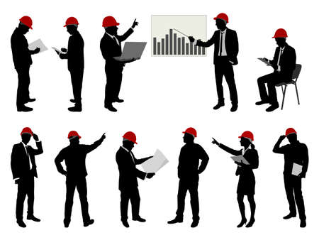 engineers with hard hat silhouettes - vector
