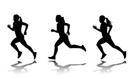 silhouettes of female sprinter