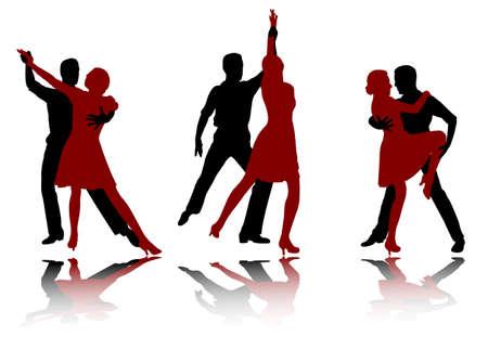 Foto de tango dancers silhouettes - vector - Imagen libre de derechos