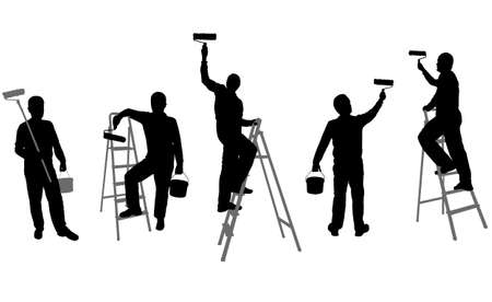Illustration for house painters silhouettes - vector - Royalty Free Image