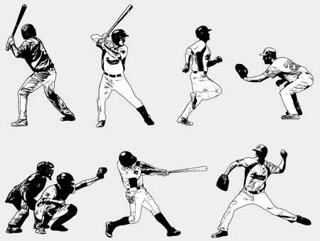 baseball players set - sketch illustration - vector
