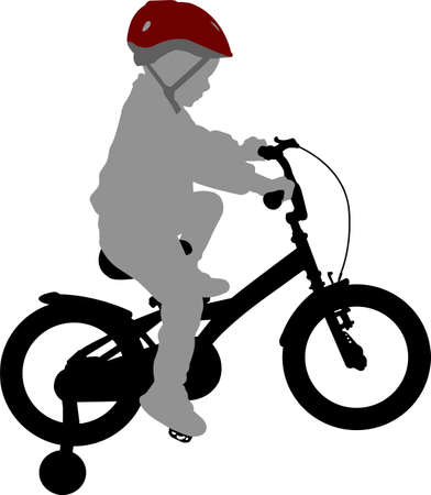 Illustration pour little boy riding bicycle  high quality silhouette - vector - image libre de droit