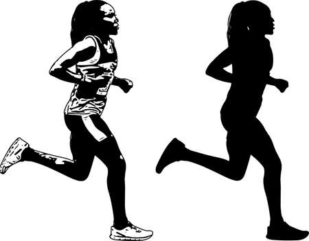 Photo for female runner sketch and silhouette - vector - Royalty Free Image