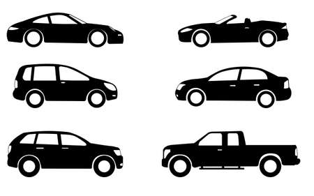 Illustration for car silhouettes set - vector - Royalty Free Image