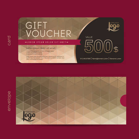 Gift voucher template with premium pattern and envelope design,cute gift voucher certificate coupon design template, Collection gift certificate business card banner calling card poster,Vector illustration
