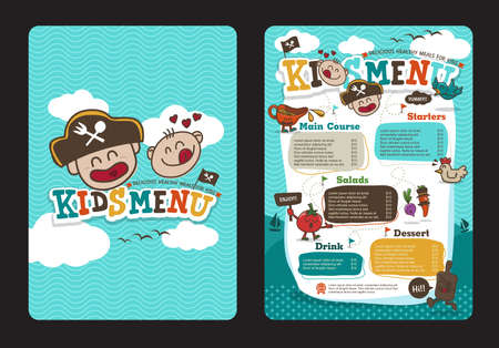 Illustration for Cute colorful kids meal menu  template with pirate cartoon - Royalty Free Image