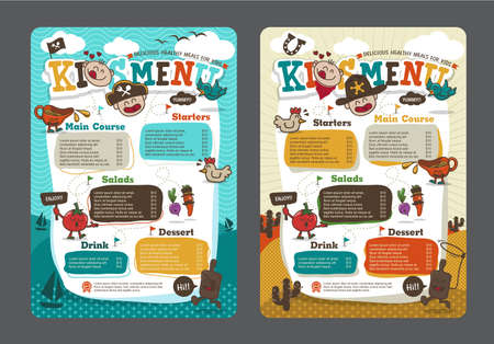 Cute colorful kids meal menu template with pirate cartoon and cowboy cartoonのイラスト素材