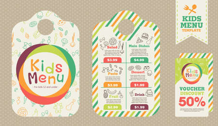 Illustration for Cute colorful kids meal menu vector template - Royalty Free Image