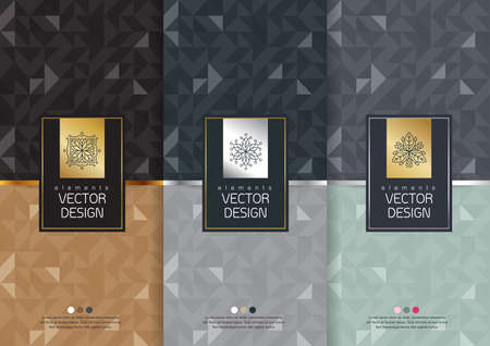 Ilustración de Vector set of templates packaging, labels and frames for packaging for luxury products in trendy linear style, banner, poster, identity, branding, logo icon, seamless pattern in trendy linear style, black, ,collection packaging design,vector illustration - Imagen libre de derechos
