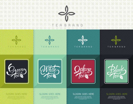 Ilustración de Vector set of templates packaging tea, logo, label, banner, poster, identity, branding. Stylish design for black tea - green tea - white tea - oolong tea - Imagen libre de derechos