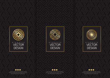 Ilustración de set of templates packaging, labels and frames for packaging for luxury products in trendy linear style,  poster, identity, branding, icon, seamless pattern in trendy linear style, black, ,collection packaging design,illustration - Imagen libre de derechos