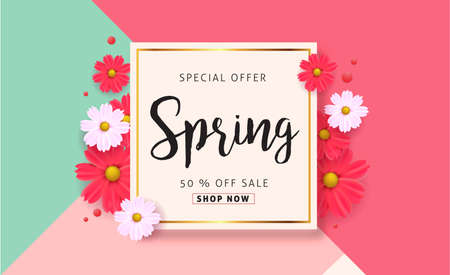 Illustration for Spring sale background with beautiful colorful flower. Vector illustration.banners.Wallpaper.flyers, invitation, posters, brochure, voucher discount. - Royalty Free Image
