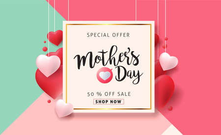 Illustration for Mothers day sale background poster banner with beautiful colorful flower. Vector illustration. - Royalty Free Image