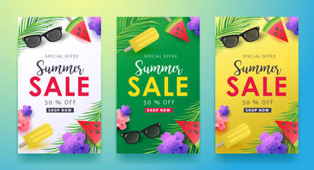 Ilustración de Summer sale background layout for banners,Wallpaper,flyers, invitation, posters, brochure, voucher discount.Vector illustration template. - Imagen libre de derechos
