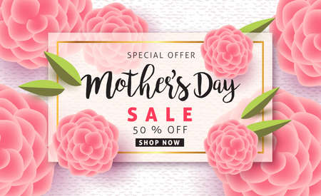 Illustration for Mothers day sale pattern poster banner with beautiful colorful flower. Vector illustration. - Royalty Free Image