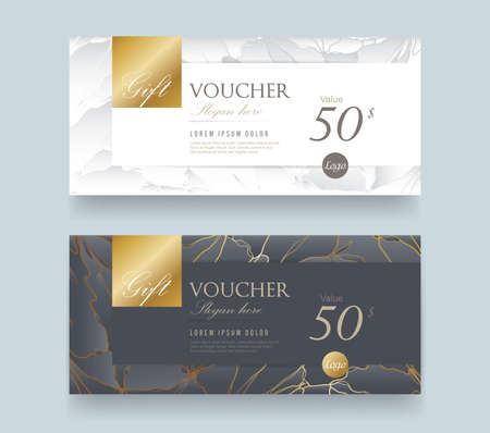 Illustration pour Gift Voucher discount template with luxury pattern.Vector template for gift card premium pattern. Vector illustration. - image libre de droit