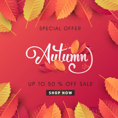 Illustration for Autumn sale background layout decorate with leaves for shopping sale or promo poster and frame leaflet or web banner.Vector illustration template. - Royalty Free Image