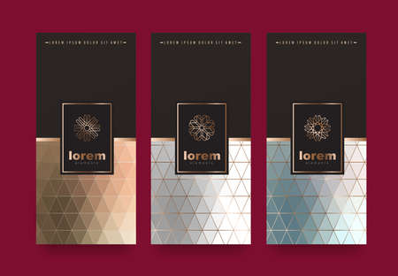Illustration pour Vector set packaging templates with different texture for luxury products.logo design with trendy linear style.vector illustration - image libre de droit