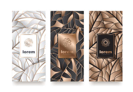 Ilustración de Vector set packaging templates with different texture for luxury products. logo design with trendy linear style vector illustration - Imagen libre de derechos