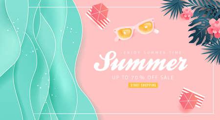 Ilustración de Summer sale design with paper cut tropical beach bright Color background layout banners .Orange sunglasses concept.voucher discount.Vector illustration template. - Imagen libre de derechos