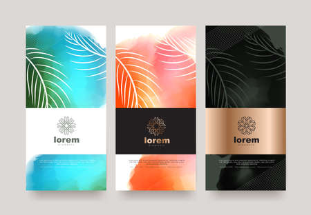 Illustration for Vector set packaging templates nature luxury or premium products.logo design with trendy linear style.voucher discount flyer brochure.book cover vector illustration.greeting card background. - Royalty Free Image