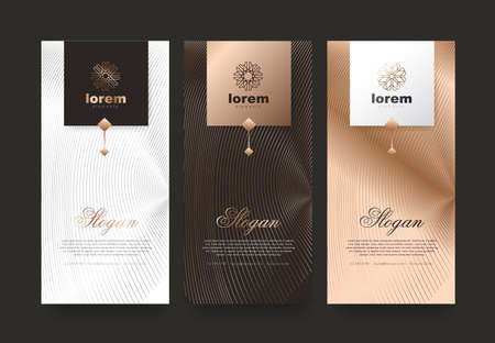 Ilustración de Vector set packaging templates nature luxury or premium products.logo design with trendy linear style.voucher discount, flyer, brochure.book cover vector illustration.greeting card background. - Imagen libre de derechos
