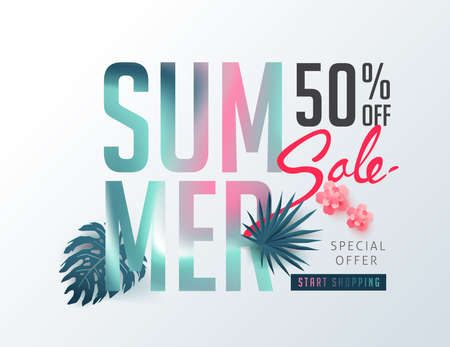 Ilustración de Summer sale background layout banners decorate with paper art tropical leaf vibrant bold gradient holographic .voucher discount.Vector illustration template. - Imagen libre de derechos