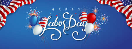 Illustration pour Labor day sale promotion advertising banner template decor with American flag balloons and Colorful Fireworks decor .American labor day wallpaper.voucher discount.Vector illustration . - image libre de droit