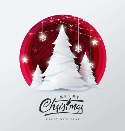 Ilustración de Merry christmas and happy new year background Decorated with christmas tree and star paper cut style.Glowing lights Vector Illustration. - Imagen libre de derechos