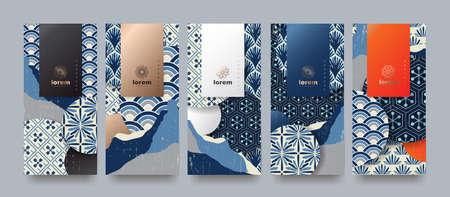 Ilustración de Vector set packaging templates japanese of nature luxury or premium products. logo design with trendy linear style. voucher, flyer, brochure. Menu book cover japan style vector illustration. - Imagen libre de derechos