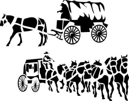 stylized chuck wagon and stagecoach
