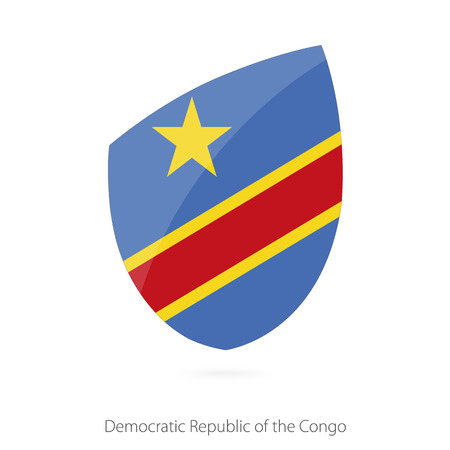 Flag of DR Congo in the style of Rugby icon. Vector Illustration.