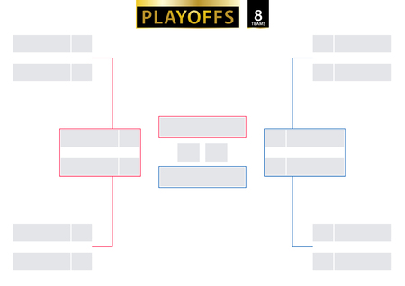 8 Team Elimination Bracket. Tournament Bracket for playoffs on white background. Size A2 ready for print. Vector Illustration.