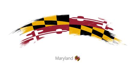 Ilustración de Flag of Maryland state in rounded grunge brush stroke. Vector illustration. - Imagen libre de derechos