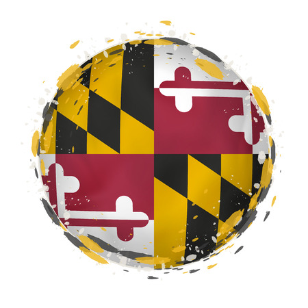 Illustration for Round grunge flag of Maryland US state with splashes in flag color. Vector illustration. - Royalty Free Image