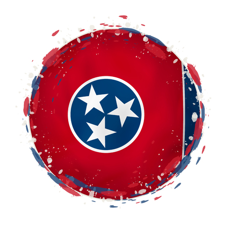 Illustration for Round grunge flag of Tennessee US state with splashes in flag color. Vector illustration. - Royalty Free Image