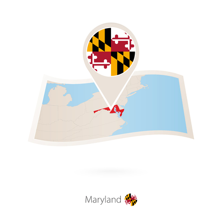 Folded paper map of Maryland U.S. State with flag pin of ... on graffiti of maryland, layout of maryland, landscape of maryland, graph of maryland, icons of maryland, clipart of maryland, food of maryland, drawing of maryland, cartoon of maryland,