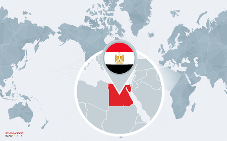 World map centered on America with magnified Egypt. Blue flag and ...