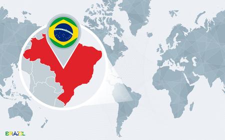 brazil - map, flag and cities of football: Lizenzfreie ...